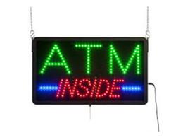 lua verde luzes led Desconto 20 Pçs / lote, preço de atacado, 19''x10''x0.5 '' Multicolor LED ATM Dentro Sinal, Plástico Preto, Opcionalmente Animado, Vindo Com o Botão POWER ON / OFF