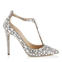 Sapatos de diamantes de noiva on-line-Diamante artificial Sapatos De Casamento De Noiva Cecilia Liu Estilo 11 CM Sapatos de Salto Alto Sapatos de Salto Alto Dedo Apontado Toe Peep Toe