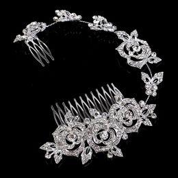 Wholesale wholesale rhinestone tiaras - Elegant Hair Accessories Sparkling Rose Flower Double Hair Comb Crystal Rhinestone Wedding Bridal Headpieces Tiara silver colors