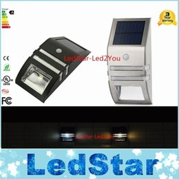 Wholesale Solar Lights For Steps - Silver   Black Solar-powered Light with 2pcs SMD LEDs Polycrystalline Solar Panel PIR Sensor for Pathway Outdoor Stair Step Garden Yard