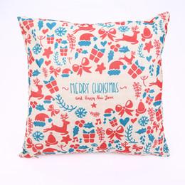 Almohadas decoradas online-Nuevo Llega Navidad Square Pillow Case Tree Deer Pattern Muebles Para El Hogar Decorar Pillowslip Algodón Suave Venta Caliente 5 5hl J R