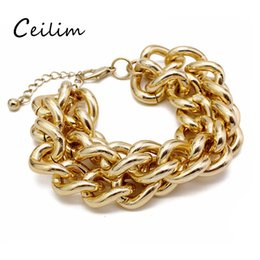 Wholesale Wholesale Goth Jewelry - New 2cm Exaggerated Pop Punk Rock Style Gold Chain Link Bracelet Men Jewelry Goth Rock Personalized Multilayer Bracelets For Women Gifts
