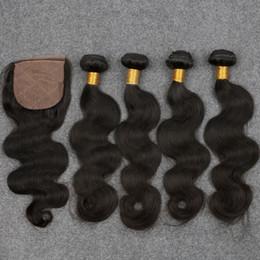 Wholesale Braziian Hair - Braziian Body Wave With Closure 7A Peruvian Human Hair 4 Bundles With Silk Closure Brazilian Virgin Hair Body Wave With Closure