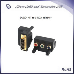 Wholesale Component Rca Converter - Free Shipping 2PCS DVI 24+5 Male To 3 RCA Female Component AV Angle Connector Converter Adapter