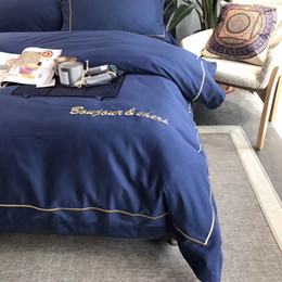 Wholesale High Thread Count Sheets - luxury embroidery high thread count 100%cotton fabric bedding set bed cover bed sheet and pilliw case four pieces color 1750016