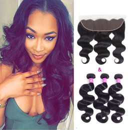 sedoso onda de tejido de pelo Rebajas Ushine Body Wave Indian Hair teje 3 paquetes con 13x4 Ear to Ear Full Lace Frontal Closure con Baby Hair suave y sedoso