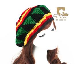 Wholesale Tam Beret - Wholesale-Jamaican Tam Rasta Fancy Dress Party Costume Hippie beret handmade crochet cap RH-004