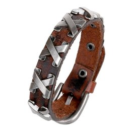 Wholesale Mens Leather Cross Bracelet - Fashion Men Leather Bracelets Stainless Steel Anchor Cross Bracelets Cool Mens Cowhide Bracelet Bangle Korean Punk Charm Bracelet Luxury