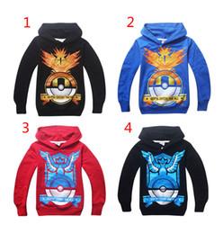 Wholesale Wholesale Hoodies Designs - Boys Poke go Pikachu Hoodies Sweatshirts 4 design Free DHL children Poke Ball Long sleeve Hoodie jacket kids coat B001