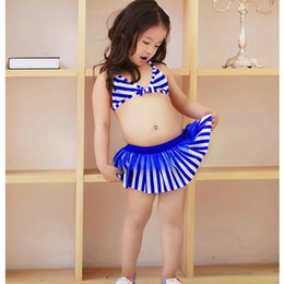 Wholesale Swimming Clothes Children - 2016 Kids Bikini Girls Two pieces Swimwear Children Swimsuit cute striped Swimming suit Baby Bathing suit Toddler Summer Clothes Gifts hot