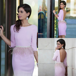 Wholesale Three Quarter Prom Dresses - 2016 Pink Short Prom Dresses Scoop Neck Beads Waist Feathers Cocktail Dresses Sexy Open Back Three Quarter Sleeve Party Dresses