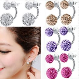 Wholesale Wholesale Disco Ball Studs Sterling - 925 Sterling Silver Plated Crystal Rhinestone Shamballa Disco Ball Double Sided Stud Earrings Fashion Jewelry For Womem 8 Colors