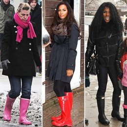 Wholesale Boots Rainboots - DHL drop Ship Hunter Women RAINBOOTS fashion Knee-high tall rain boots waterproof welly boots Rubber rainboots water shoes rainshoes