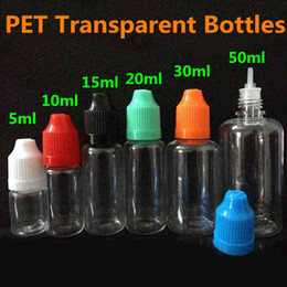 Wholesale E Bottles Dhl - E liquid Needle Tip Bottles PET Transparent Empty 5ml 10ml 15ml 20ml 30ml 50ml Plastic Clear Dropper Bottle With Colorful Childproof Cap DHL
