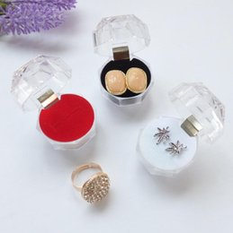 Wholesale Cheap Wedding Ring Boxes - 3.8CM*3.8CM*3.8cmRings Box Jewelry Clear Acrylic Cheap Jewelry Boxes Sale Wedding Gift Box Ring Stud Dust Plug Box