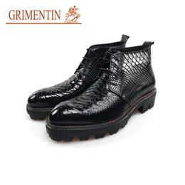 Wholesale Black Alligator Boots - GRIMENTIN 2018 Luxury Winter Alligator Designe rmen boots genuine leather black italian style business man ankle boots shoes size:38-44 OM13