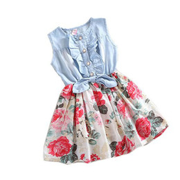 Wholesale Baby Full Month - Wholesale- 2017 Top recommend Children Dress Baby Girl Tutu Denim Dress Short Sleeve Lace Princess Party Skirts Full stock