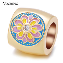Wholesale Jewelry Paint Gold - VOCHENG Endless Charms Flower Hand Painted CZ Stone 3 Colors Plated Copper Metal Interchangeable Jewelry VC-222