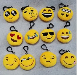 Wholesale Wholesale Bags Old Keys - 12 Style Cartoon Emoji QQ Plush Toys Keychains Expression Face Key Ring School Student Bag Pendant Gift 6cm KB331