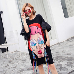 Wholesale Girls Ice Cream Top - TREND-Setter 2017 Summer Fashion Punk Cartoon Girl T shirt Women Ice cream Print Long Tshirt Flare Sleeve Loose Causal Tops free shipping