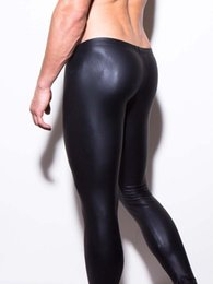 Wholesale Mens Fetish - Sexy Faux Latex Pants Mens Fetish Vinyl Pants Slim Wet Look Pole Dance Exotic Pants