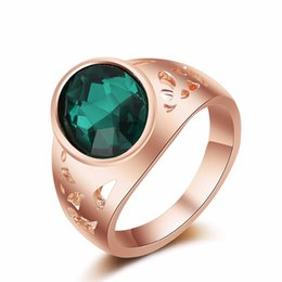 Wholesale Exaggerated Female - Quality Genuine 18K Gold Plated Luxury Exaggerated Wedding Blue Zircon Crystal Rings Female Statement Jewelry Accessories