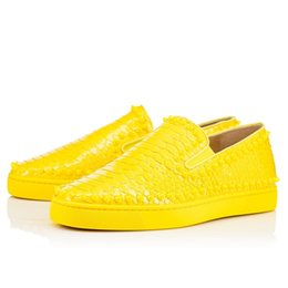 Wholesale Bottom Boat - [Original Box]Yellow Black White Red Bottom Boat Shoes Spikes Pikboat Pik Pik Boat Shoes Python Loafe Shoes 35-46