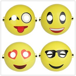 Wholesale Masquerade Mask Decor - Emoji Masks Funny Yellow Smile Face Christmas Cartoon Expression Party Mask Full Face Masquerade Birthday Decor 1 9lm F R