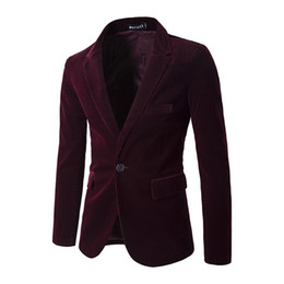 Wholesale Popular Blazers - Fashion popular 2017 autumn winter new men's corduroy solid color a button brand clothing suit jacket in the slits