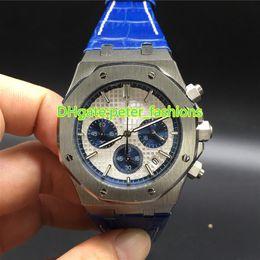 Wholesale Gentleman Watches - AAA luxury brand new men watches gentlemen black dial watch blue leather strap watch Royal Oak quartz automatic watch men's wristwatch