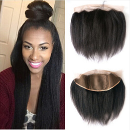 Wholesale Cheap Hair Lace Closure Piece - Mongolian Kinky Straight Silk Base 13x4 Lace Frontal 8A Cheap Silk Frontal Closure Italian Coarse Yaki Silk Top 4x4 Full Lace Frontal Pieces