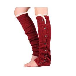 Wholesale Lace Stocking Foot - Christmas Leg Warmer womens boot socks thigh socks stocking foot socks lace button Leggings foot cover socks knee high socks