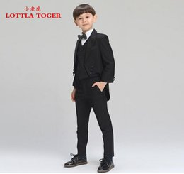 Wholesale New Black Tuxedo Boy S - Wholesale-2016 new fashion baby boys Tuxedos blazers suits boys suits for weddings formal black wedding suit flower boy dress 4 pcs
