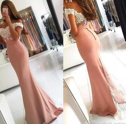 Wholesale free images woman - 2018 Sexy Free Shipping Women Lace Off Shoulder Formal Dusty Pink Mermaid Dresses Evening wear Long Saudi Arabia Cheap Party Prom Gown
