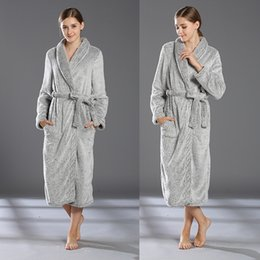 Wholesale Flannel Nightgowns Women - Bathrobe For Winter Fall Grey Long Night-Robe Women Nightgown For Wedding Dresses Flannel Long Sleeve High Quality Pajamas For Bridal