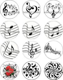 2019 notas de música grátis Frete grátis MÚSICA Nota de vidro Snap botão Charme Popper para Snap Jóias boa qualidade 12 pçs / lote Gl359 fazendo jóias DIY notas de música grátis barato