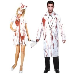 Ropa de la etapa online-Doctor Enfermera Cosplay Mujeres Hombres Halloween Blooded Theme Costume Dress Clothing Party Stage Wear