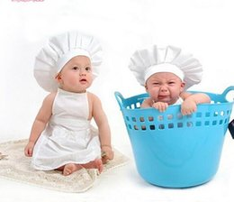 Wholesale Apron Chef Hats - Newborn baby photography props costumes 0-3 months cook chef clothes for babies photo clothing white hat+apron