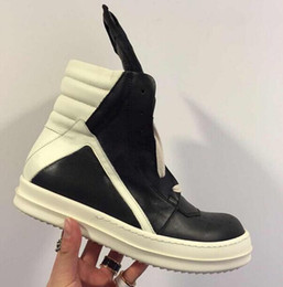 Wholesale Ems Shoes - RO Upgraded Version Owens Men's Women's Genuine Leather High Top Sneakers Classic Shoes Casual Boots Free EMS DHL