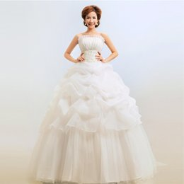 Wholesale Nice White Dresses Sleeve - High quality white  red formal wedding dress wholesale garment produce nice 2 color girls cloth noble bridals full dress free shipping