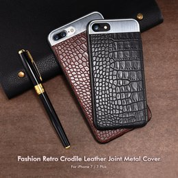 Wholesale Metal Shell Case - For iPhone7 mobile phone shell, 7plus crocodile skin, metal stitching mobile phone protection cover, 6 6plus leather mobile phone shell