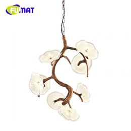 Wholesale Lighted Flower Branches - FUMAT Modern Flower Branch Pendant Light Resin Decorative Glass Lamp For Parlor Study Bedroom touw lampara colgante hanglamp
