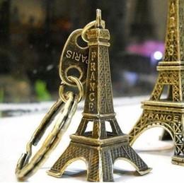 Wholesale French Zinc - Couple lovers key Ring advertising gift keychain Alloy Retro Eiffel Tower key chain tower French france souvenir paris keyring keyfob cut