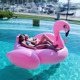 Wholesale Large Inflatable Toys - 2016 Hot Inflatable Swan Unicorn Flamingo Floating Bed Raft Air Mattress Summer 190 cm PVC Adults Pool Float Toy Floating Row