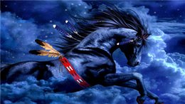 Wholesale Black Paint Horses - New needlework Diy diamond painting cross stitch kits full resin round diamond embroidery Mosaic Home Decor animal black horse yx0761