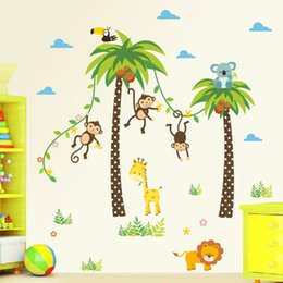 Wholesale 3d Flower Wall Decals - & Jungle Animals Wall Stickers Kids Rooms Safari Nursery Rooms Baby Home Decor Poster Monkey flowers Elephant Horse Wall Decals