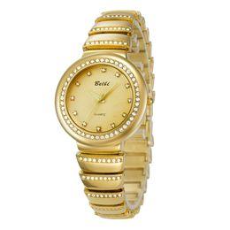 Wholesale Glasses La - Top de las señoras de lujo Relojes de pulsera de cuarzo de la batería de oro o de la astilla mira venta calientes