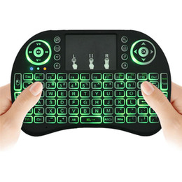 Wholesale Dhl Mouse - Rii I8 Mini Keyboard Wireless Backlight RED Green Blue Light Air Mouse Remote With Touchpad Handheld For T95 M8S S905X S905 S912 TV BOX DHL