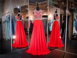 Wholesale Sleeved Chiffon Prom Dresses - Red Cap Sleeved Open Back Chiffon Hand Beading Prom Dress High Neck Sleeves Crystals Top Evening Dress Pageant Dresses