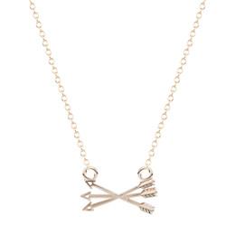 Wholesale Pierce Arrow - 10pcs lot New Design Tiny Piercing Crossed X Arrow Necklace In Gold Silver necklaces pendants for women